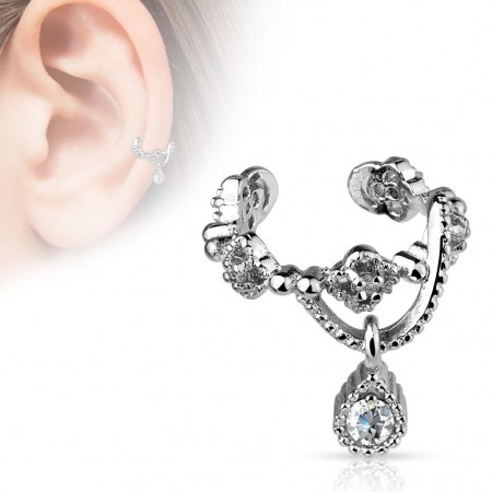 Clip on helix ring with small chain