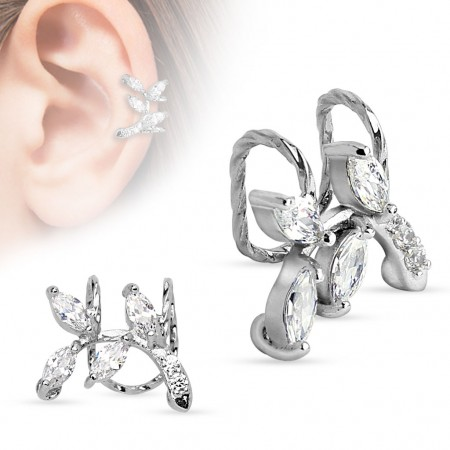 Clip on helix ring with crystal branch