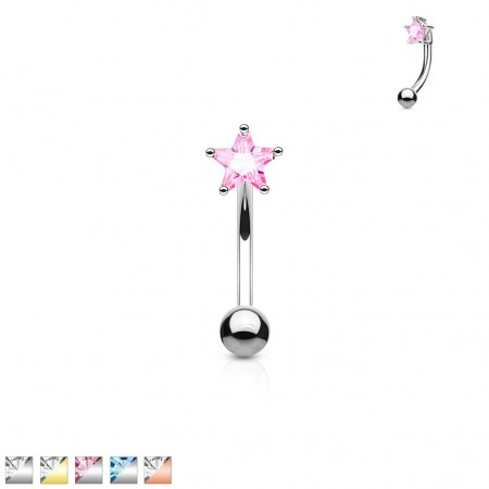 Curved barbell piercing with star topped coloured jewel
