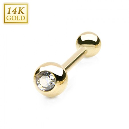 Solid gold barbell with crystal in top ball