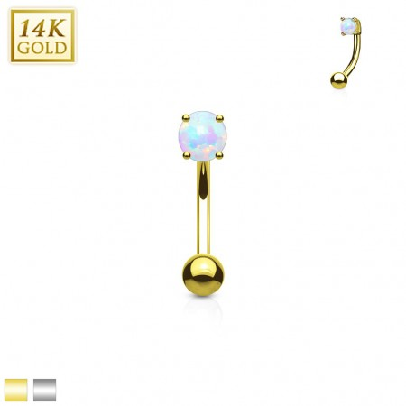 Solid gold eyebrow piercing with round opal stone
