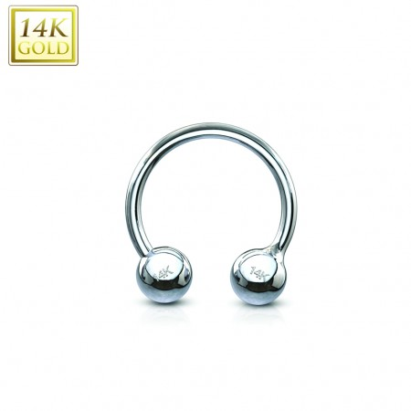 14 Kt. white gold circular barbell with balls