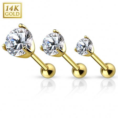 Solid gold tragus piercing with clear crystal