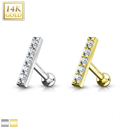 14 kt. gold ear piercing with 10 mm top of crystals