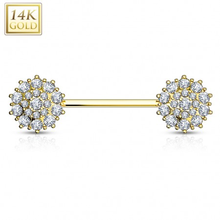 Nipple bar of 14 kt. gold with clear crystal flowers