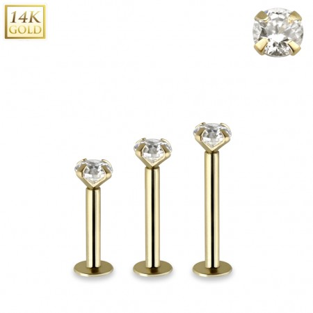 Solid 14kt gold threadless labret with clear crystal