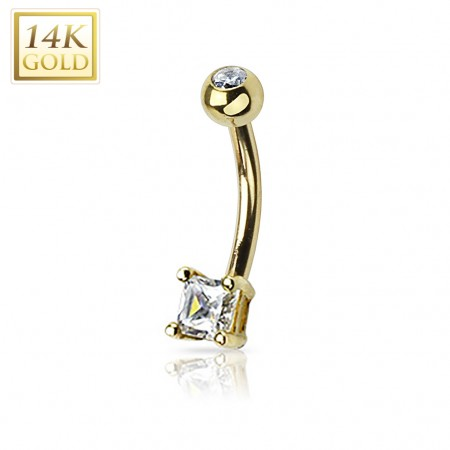 Decorative sqaure crystal on solid gold belly bar