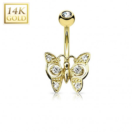 Butterfly decorated 14 Kt. gold belly button piercing