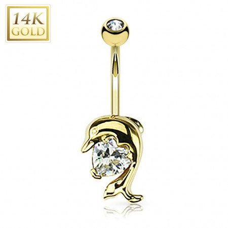 Solid gold belly ring with dolphin and crystal heart