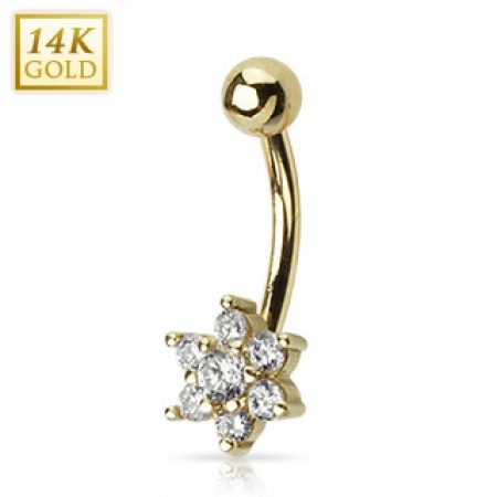 Solid gold belly button piercing with crystal flower