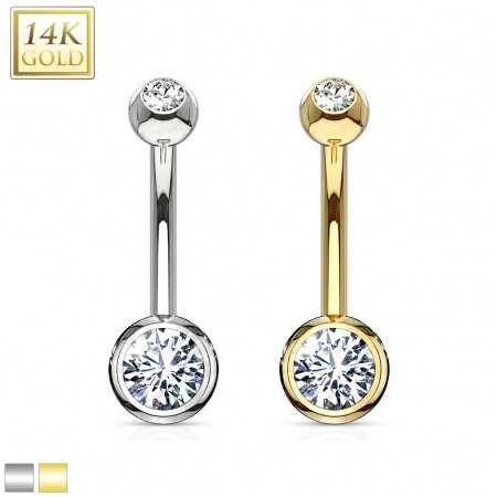 Solid gold belly bar with clear crystalised balls