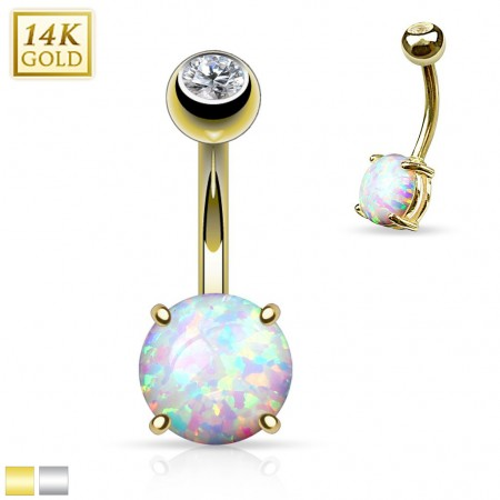 14 Kt. gold belly ring with 8 mm big Opal stone
