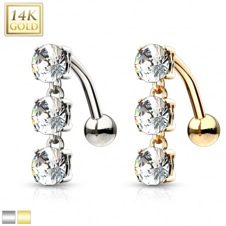 Solid gold reverse belly ring with three crystals on gold chain