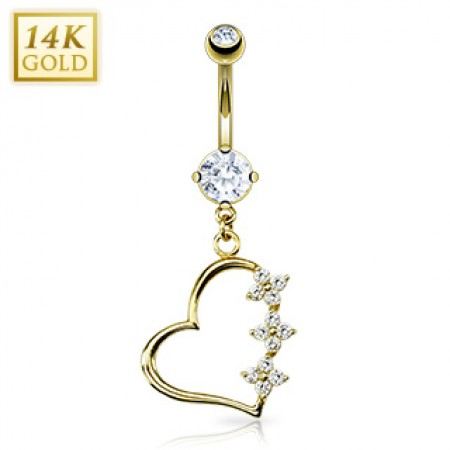 Solid gold belly ring with three crystal flowers on open heart