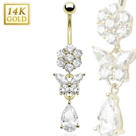 14kt. gold belly piercing with crystal flower and butterfly