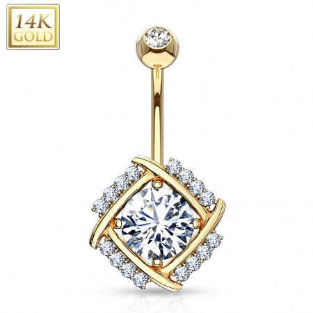 14 Kt. gold belly button piercing with diamond cut crystal in windmill