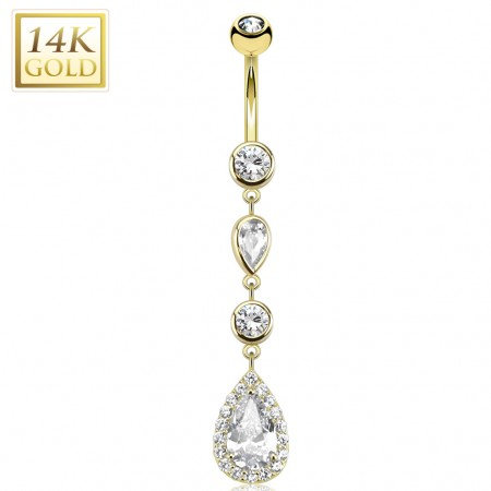 Solid gold belly bar with crystallized tear drops