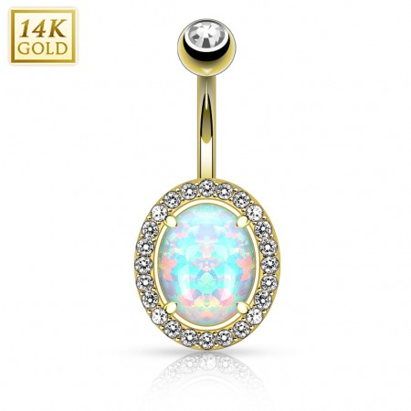 Solid gold belly button piercing with big opal and clear crystals