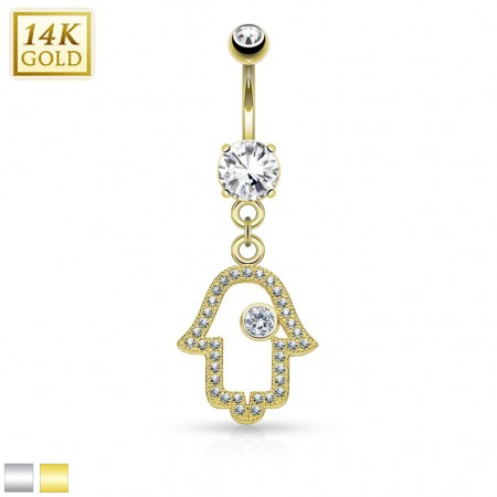Solid gold belly piercing with luxurious Hamsa hanger
