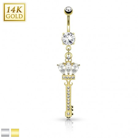 14 Kt. gold belly piercing with royalty key