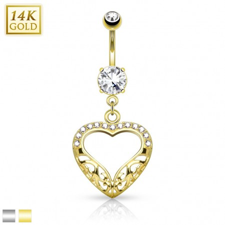 14 Kt. gold belly piercing with heart shaped dangle