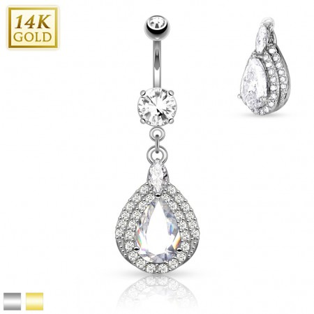 Solid gold belly piercing with Tear Drop dangle