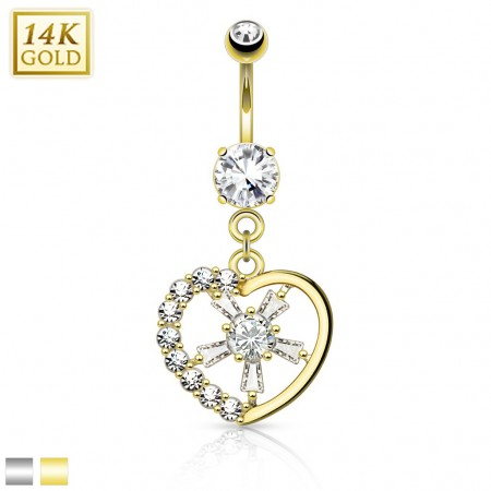 14 Kt. gold belly piercing with heart and crystal centre