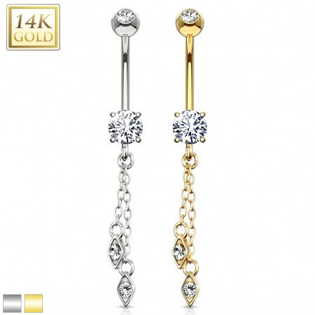Solid gold belly ring with long slim pendant