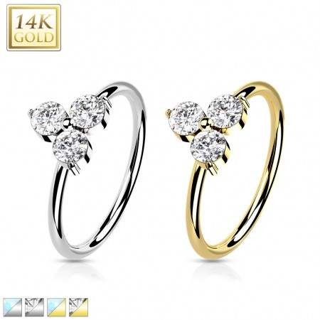 Solid 14 kt. yellow gold nose ring with bar