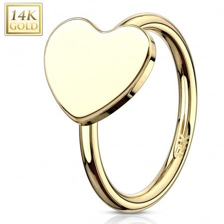 Solid gold nose or tragus ring with heart