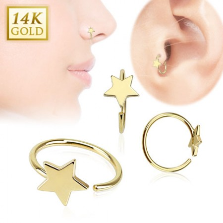 Solid gold nose or tragus ring with star