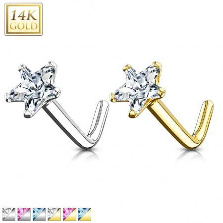Solid gold nose stud piercing with coloured crystal star