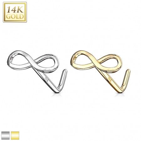 Solid gold stud nosepiercing with infinity logo