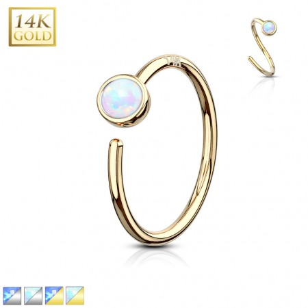 14 Kt. gold nose ring piercing with bezel set opal