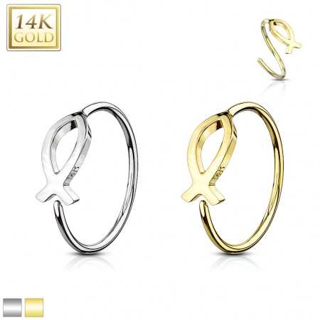 Solid 14 kt. gold piercing ring with Ichthus fish