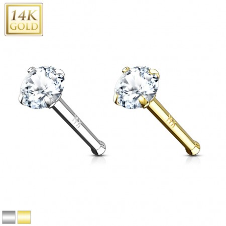 Solid gold nose bone with clear prong set crystal