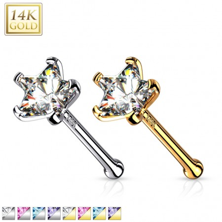 14 Kt. gold nose piercing with coloured crystal star