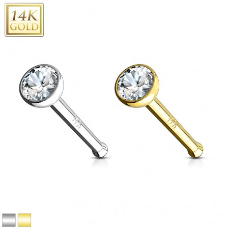 Solid gold nose piercing with clear crystal