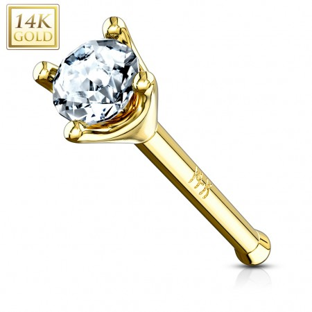 Solid gold nose piercing with prong set clear crystal