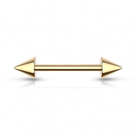 Gold barbell with spikes