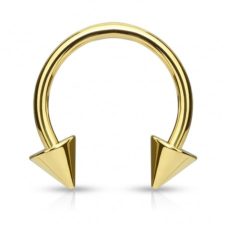 Spiked gold circular barbell