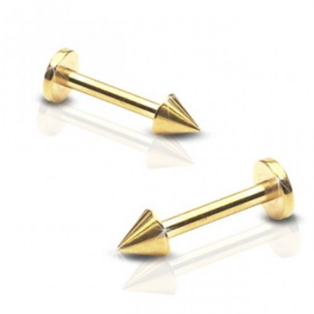 Gold plated labret with spikes