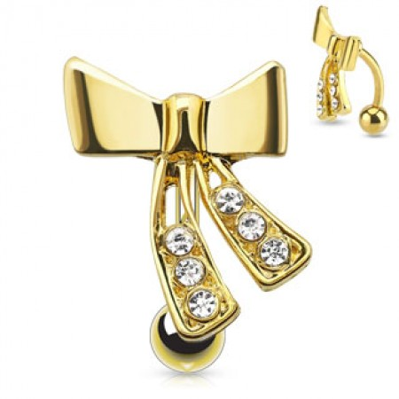 Gold plated reverse belly bar with bowtie