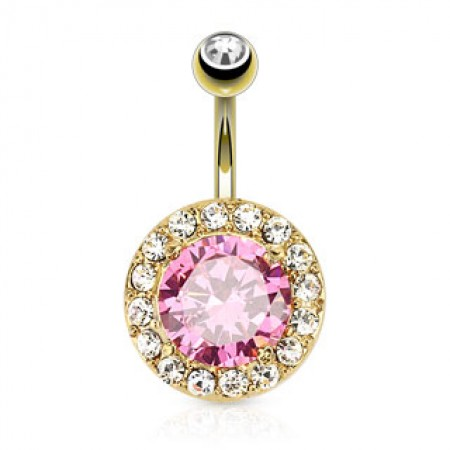 Gold plated belly piercing with a big round pink crystal