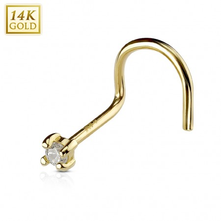 Solid gold screw nose piercing with small clear crystal