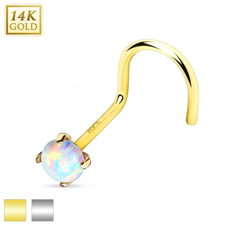 Solid gold screw nose piercing with opal stone