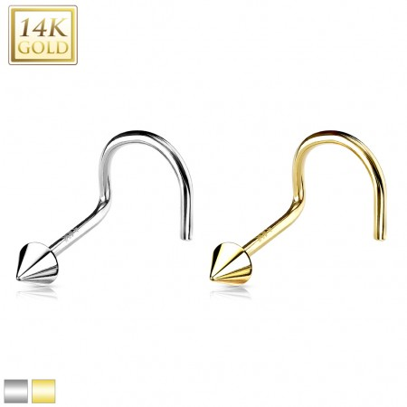 Solid gold nose screw piercing with 2 mm spike