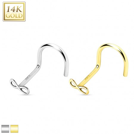 Solid gold nose screw piercing with infinity top