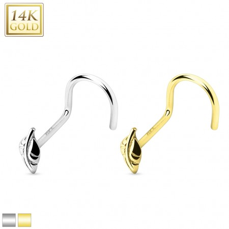 Solid gold nose screw piercing with leaf top