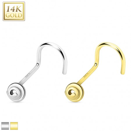 Solid gold nose screw piercing with gold spiral top